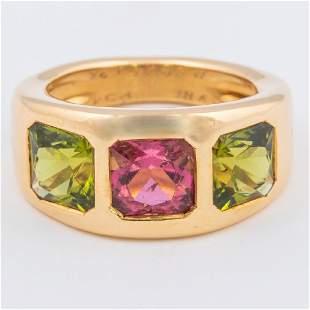 An 18kt. Yellow Gold, Peridot and Pink Tourmaline Ring,