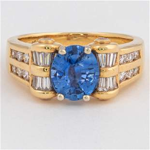A 14kt Yellow Gold Blue Sapphire and Diamond Ring