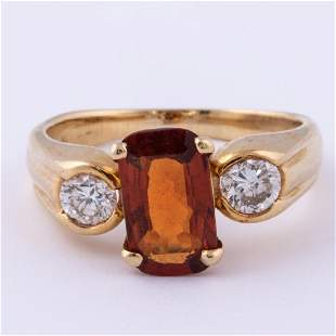 A 14kt Yellow Gold Medira Citrine and Diamond Ring