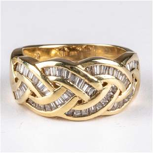 A 14kt Yellow Gold and Diamond Ring