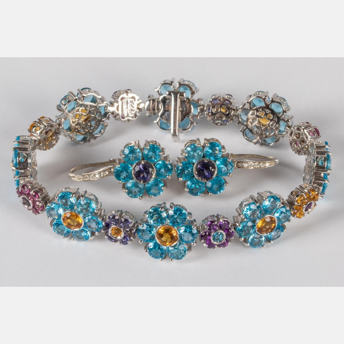 A Pasquale Bruni 18kt. White Gold, Blue Topaz, Amethyst