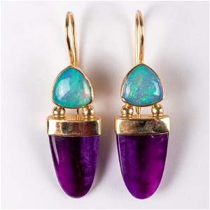 A Pair of 14kt. Yellow Gold, Amethyst and Opal