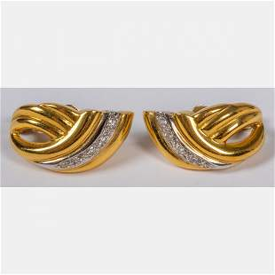 A Pair of 18kt Yellow and White Gold Diamond Earrings