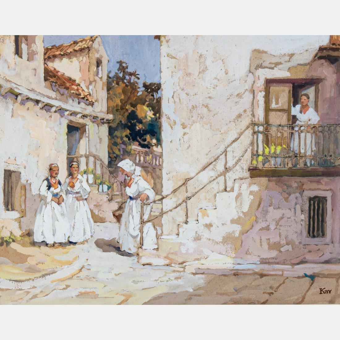 Gertude Kay (American, 1884-1939) Mexico, Watercolor on