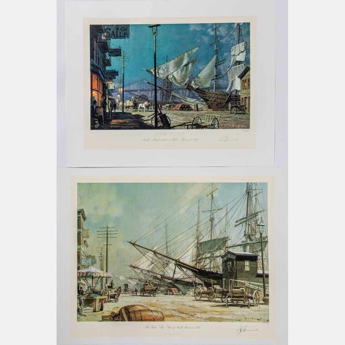 John Stobart (American, b. 1929) 'New York, the foot of
