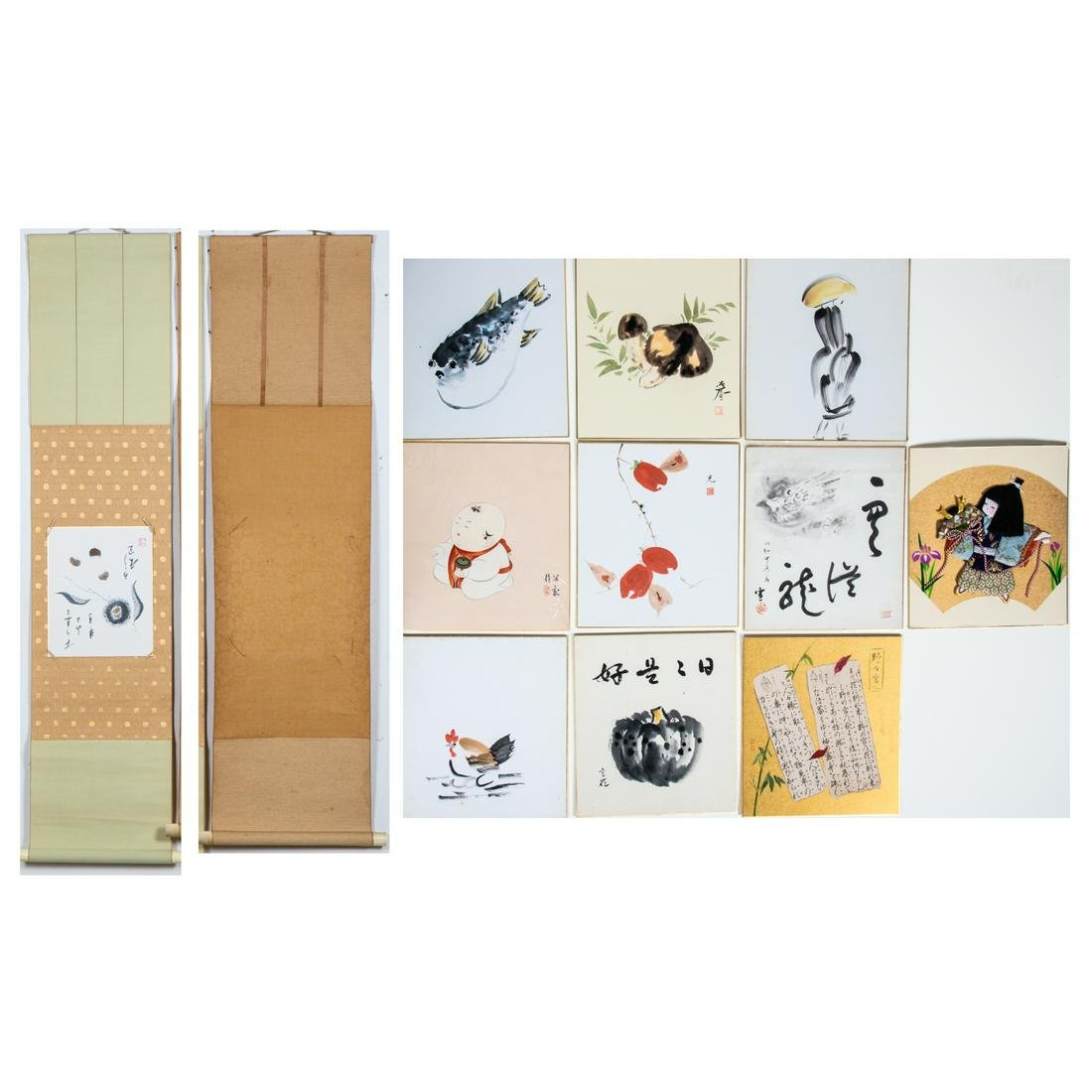 A Collection of Twelve Japanese Watercolor, Ink,