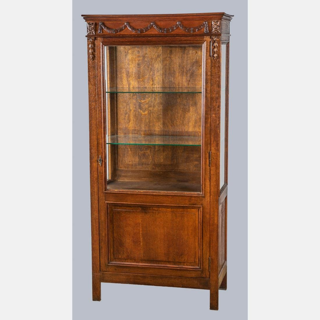 An American Oak and Glass Apothecary Cabinet, 19th/20th