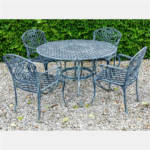 A Set Of Wrought Iron Patio Furniture 20th Century