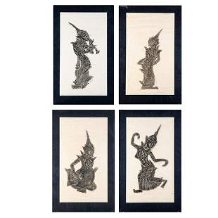 A Group of Four Thai Temple Rubbings ca 1970s
