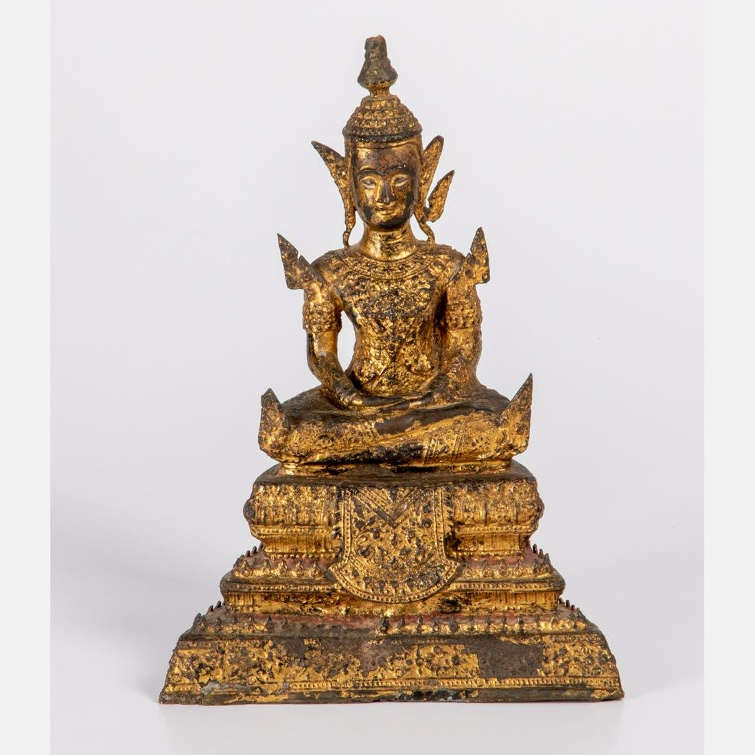 A Thai Cast Bronze Figure of Buddha with Gilt and