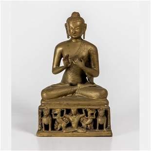 An Indian Cast Brass Figure of Buddha 20th Century