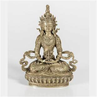 A Chinese Silvered Brass Figure of Buddha Amitayus