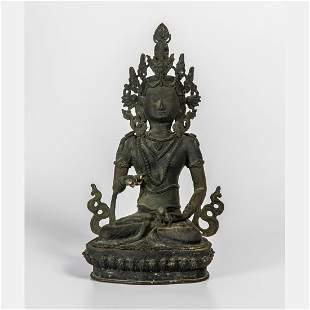 A Tibetan Cast Bronze Figure of Vajrasattva 18th19th