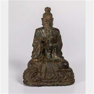 A Chinese Cast Bronze Figure of a Deity 20th Century
