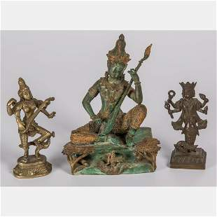A Group of Three Indian and Thai Bronze and Brass