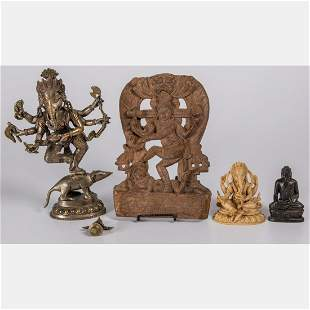 A Collection of Indian Carved Hardwood Brass and
