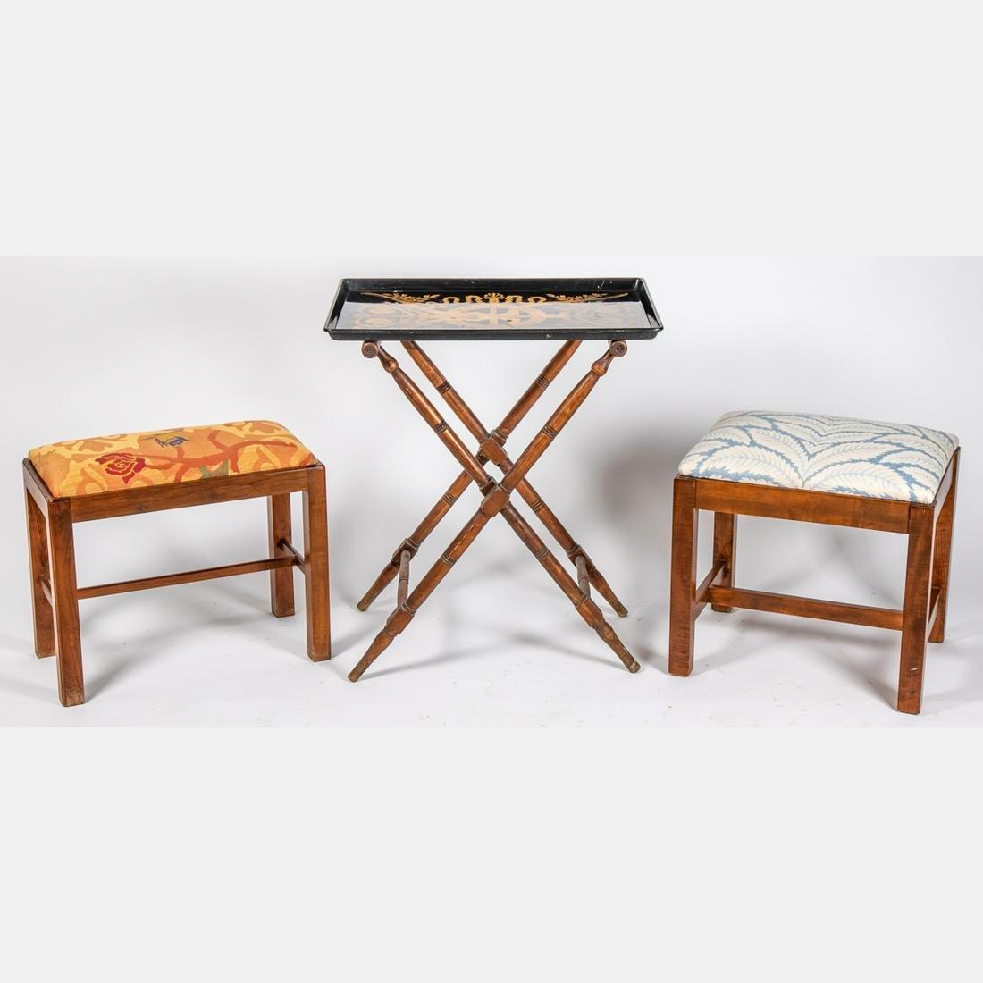 A Pair of Georgian Style Mahogany Stools, 20th Century,