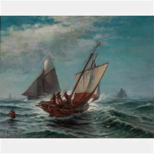 Edward Moran (American, 1829-1901) Ships at Sea, Oil on