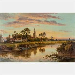 Daniel Sherrin English 18681940 River Scene with