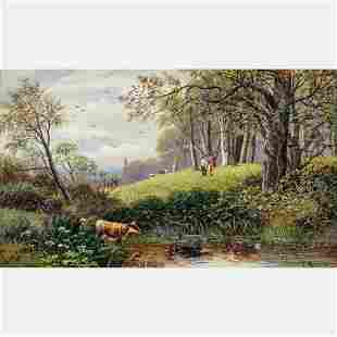 J. Morris (20th Century) Landscape with Animals, Oil on