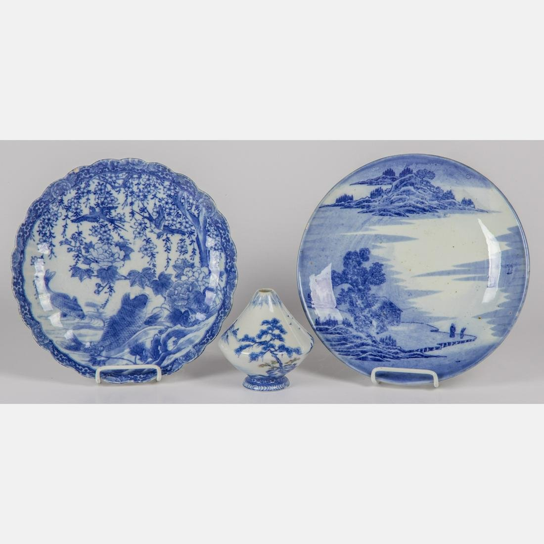A Group of Three Japanese Blue and White Porcelain