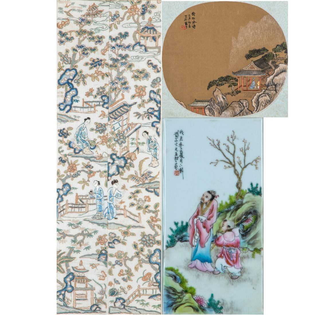 A Group of Three Framed Asian Porcelain and Silk