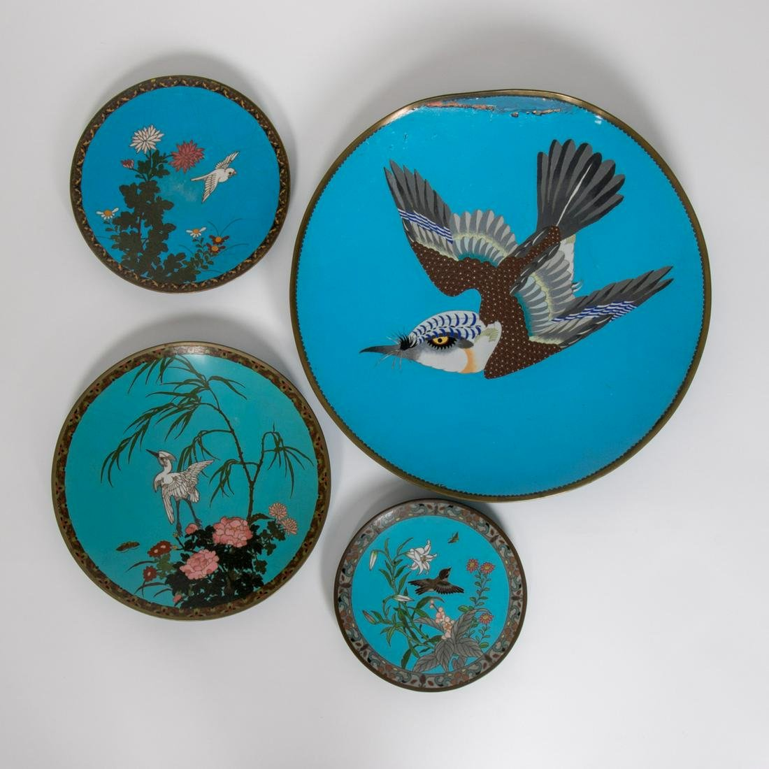 A Group of Four Chinese Cloisonné Chargers and Plates,