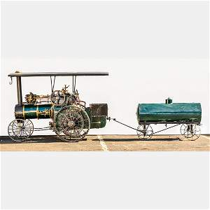 A 1907 Fleming Steam Garden Tractor and Water Carriage,