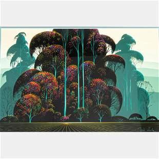 Eyvind Earle (American, 1916-2000) Crimson Autumn,