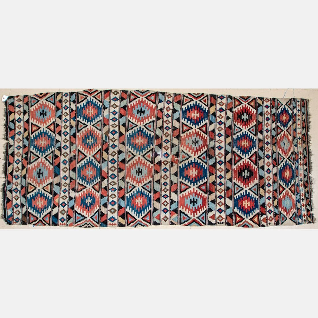 An Antique Caucasian Kazak Kilim Wool Rug, ca. 1890s.