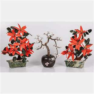 Three Chinese Glass Enameled Carved and Hard Stone