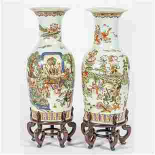 A Pair of Chinese Porcelain Palace Size Vases