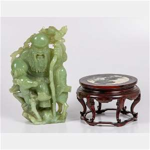 Chinese Celadon Jade Carving of Confucius and a Deer,