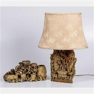 A Chinese Carved Soapstone Vase Mounted as a Lamp