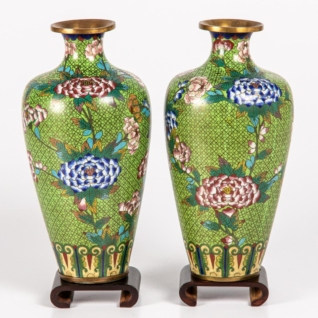 A Pair of Chinese Cloisonné Vases,