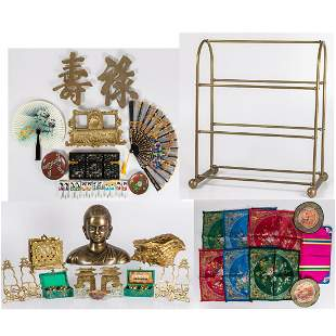 Collection of Chinese Embroidered Brass and Decorative