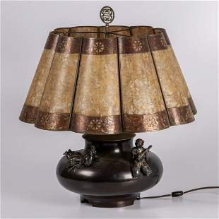 A Japanese Vase Mounted as a Lamp Meiji Period
