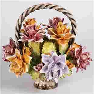 A Capodimonte Porcelain Flower Basket