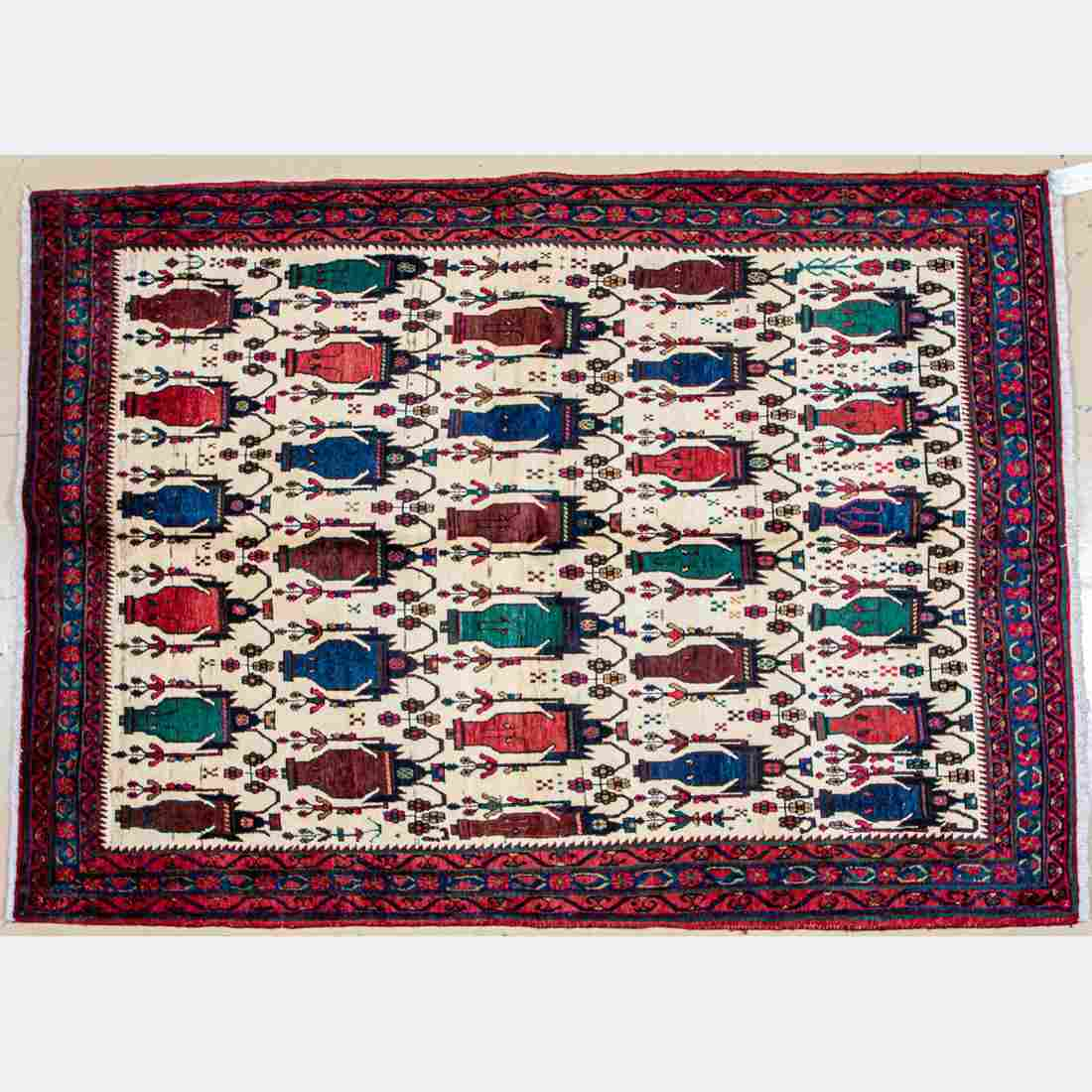 A Semi-Antique Persian Afshar Wool Rug,
