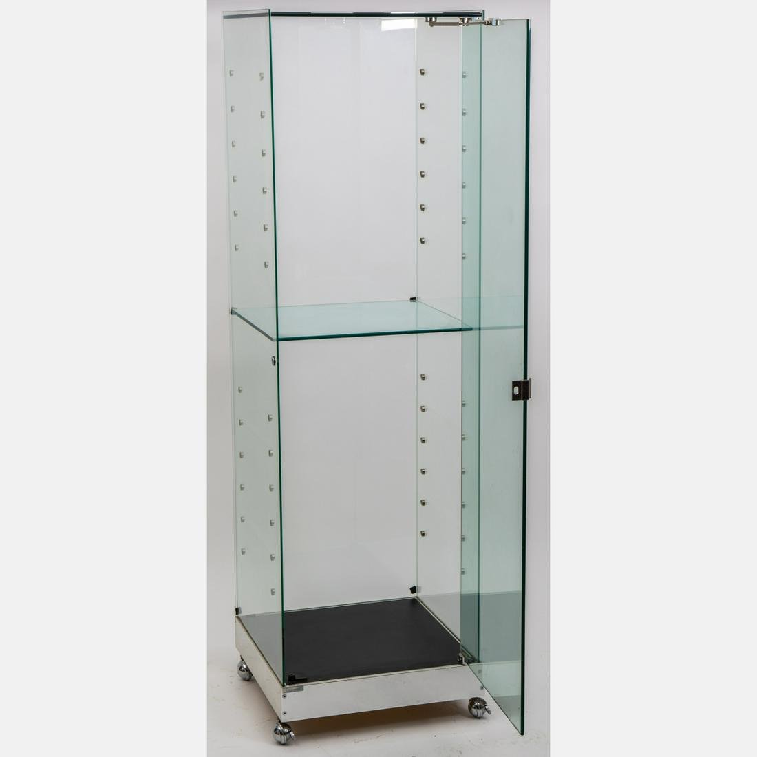A Contemporary Glass and Chrome Display Cabinet,