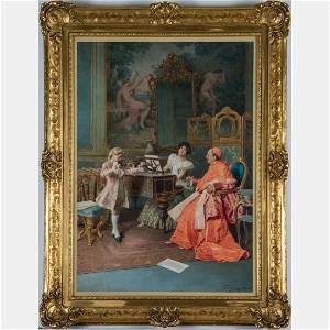 Francesco Ballesio (Italian, 1860-1923) Parlor Scene