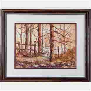 Don McDonnell 20th Century Forest Scene Watercolor