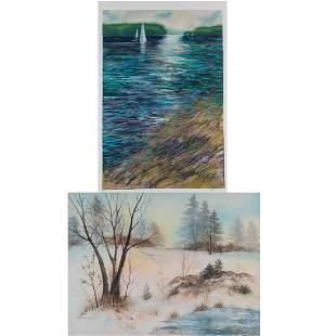 Mary T Hoffman 20th Century Winter Landscape