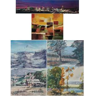 A Collection of Six Framed Decorative Prints and