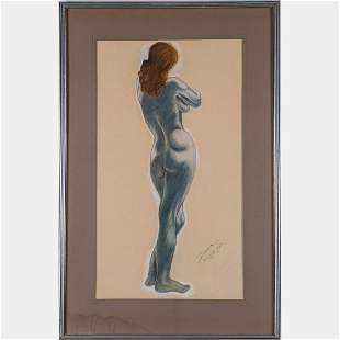 Bonnis 20th Century Nude Pastel on paper