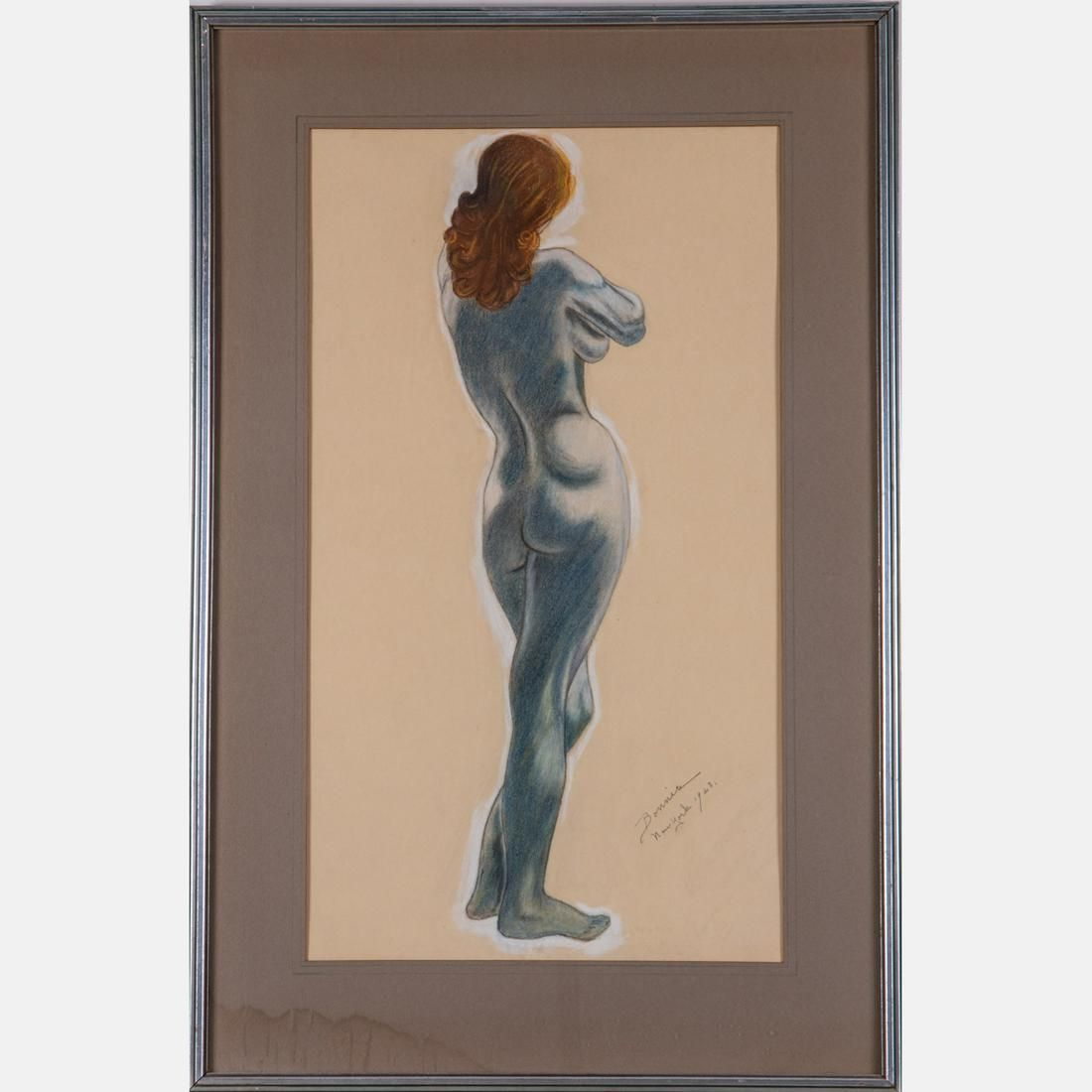 Bonnis ( 20th Century) Nude, Pastel on paper,