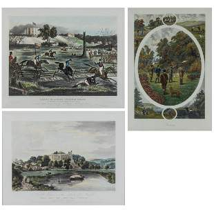 A Set of Two Lithographs and an Engraving Depicting