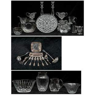 A Miscellaneous Collection of Coin Silver Silver plate