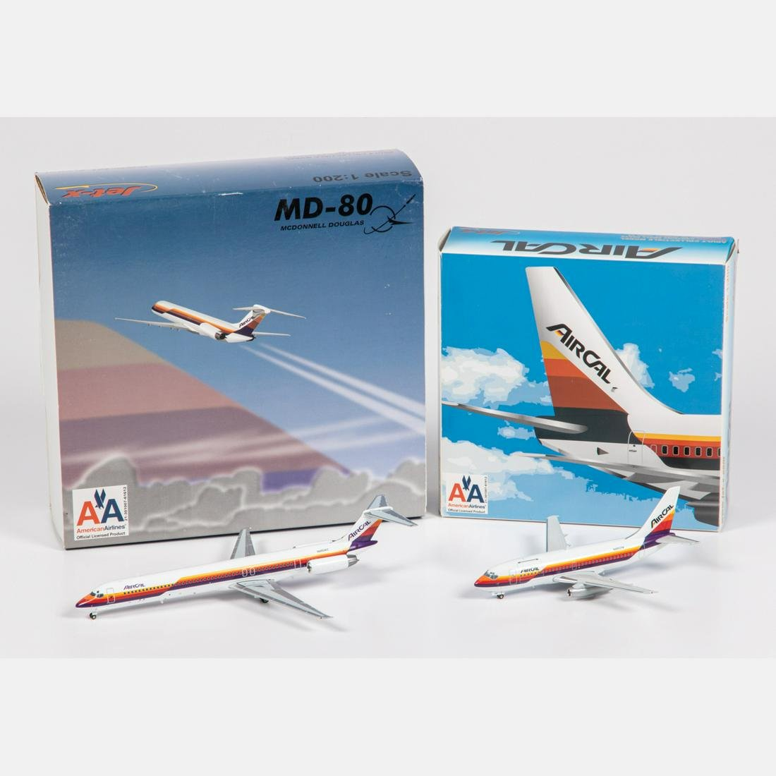 Two AirCal Diecast Airplanes