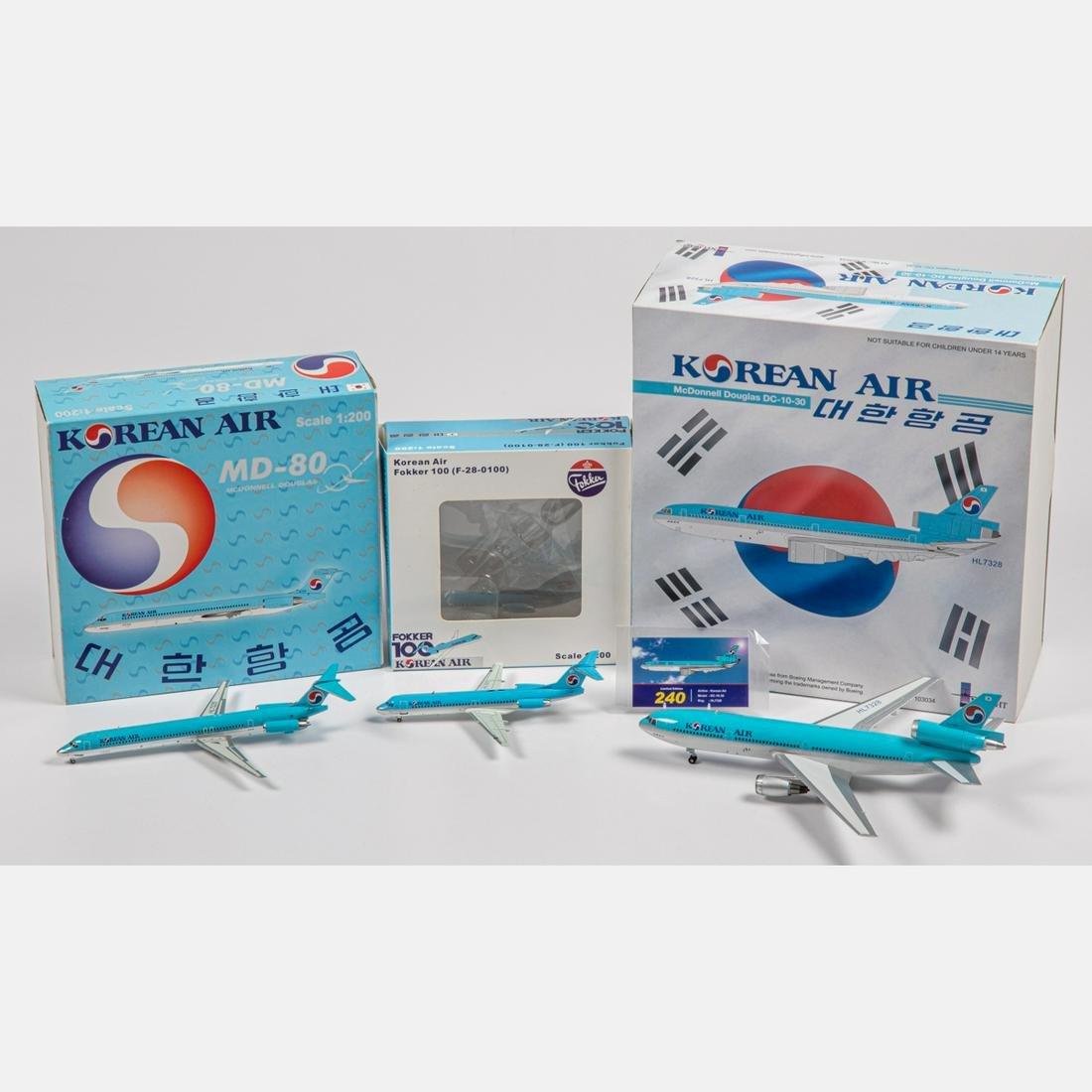 Three Korean Air Diecast Airplanes